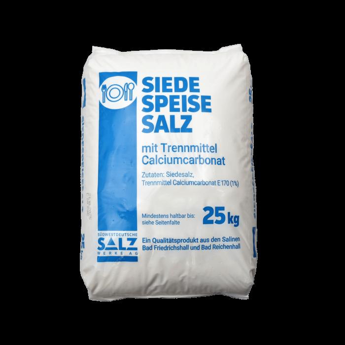 Siede-Speisesalz fein mit Calciumcarbonat  0-1 mm im 25 kg Sack