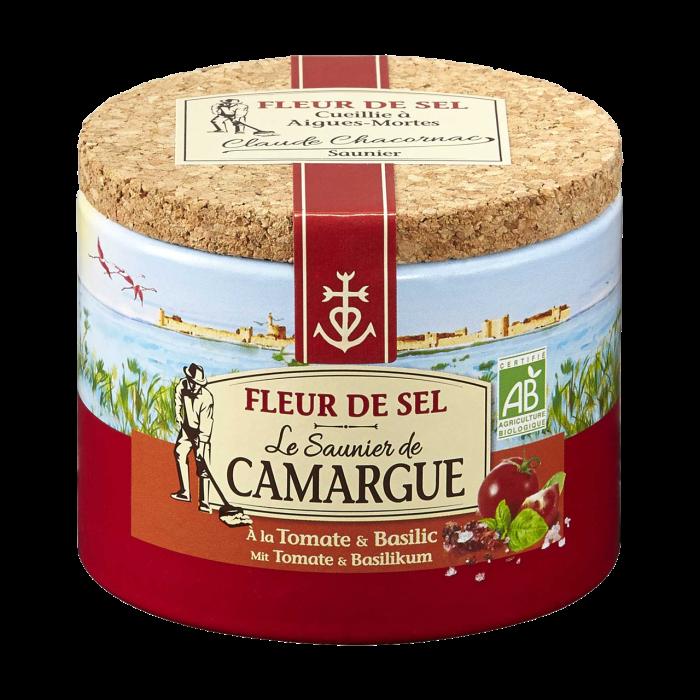 Fleur De Sel Gewürzmischung mit Tomate und Basilikum 125 Gramm Dose aus der Camargue mit Korkdeckel