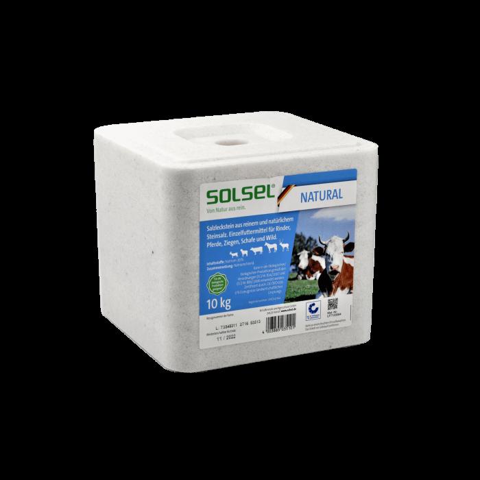 SOLSEL ® NATURAL Salzleckstein mit Loch, gepresst 10 kg