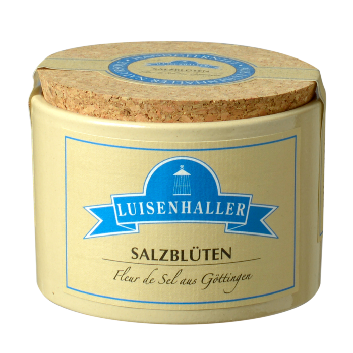Luisenhaller Pfannensalz Salzblüten 60 Gramm im Tontopf