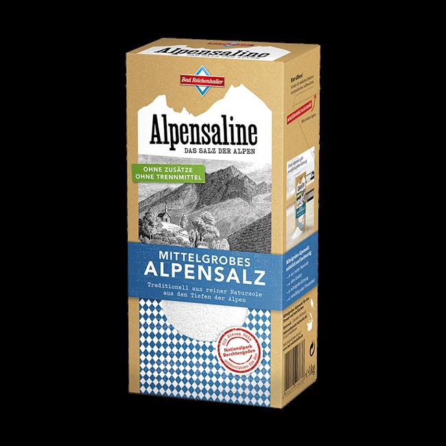 Alpensaline - Das Salz der Alpen - Mittelgrobes Alpensalz 1 kg Paket