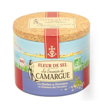 Fleur De Sel Gewürzmischung mit Kräutern der Provence 125 Gramm Dose aus der Camargue mit Korkdeckel